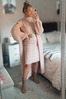 Knitted Longline Dress & Cardigan Co-Ord