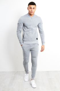 Grey With White Cut Patch Tracksuit
