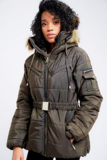 Khaki Faux Fur Hooded Belted Jacket