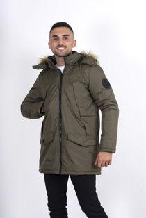Khaki Faux Fur Hooded Puffer Jacket