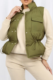 Khaki Pocket Front Puffer Gilet