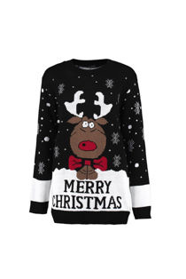 Kids Black Reindeer Bow Knitted Christmas Jumper