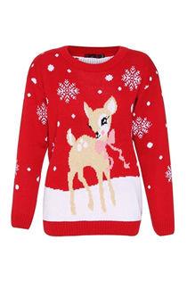 Kids Red Deer and Snowflake Christmas Jumper