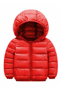Kids Red Hooded Puffer Jacket