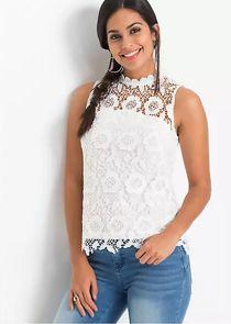 Cream Lace Sleeveless Top