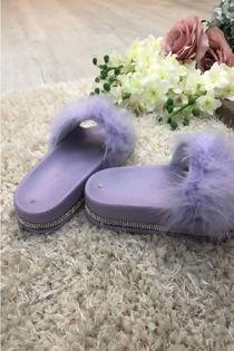 Lavender Fur Flat Diamond Sliders