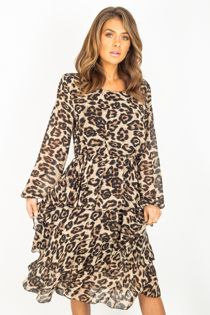 Leopard Layered Flounce Dress