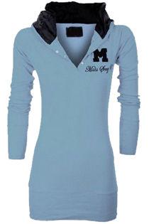 Light Blue Hooded Plain Cotton Jumper Top