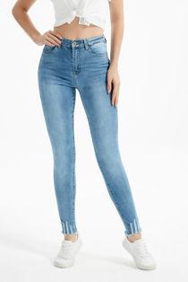 Light Denim Blue Hem Skinny Fit Jeans