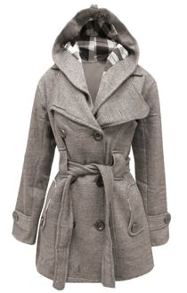 Light Grey Double Breasted Fleece Hood Belted Coat