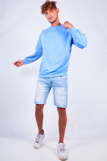 Light Washed Chino Distressed Shorts