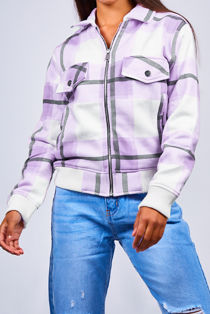 Lilac Zip Front Checked Bomber Jacket