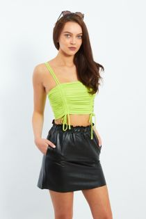 Lime Green Pull Through Ruffle Crop Top