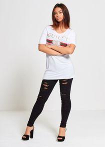 Longline White Guilty T-Shirt Top