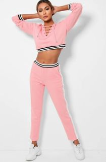 Pink Lace Up Cropped Striped Lounge Set