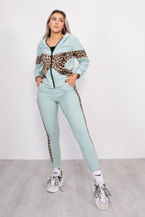 Leopard Print Panel Hooded Tracksuit