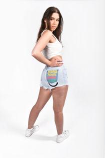 Light Denim Button Up Printed Back Shorts