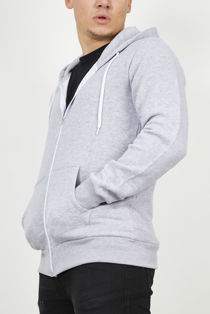 Light Grey Plain American Fleece Zip Up Hoody Jacket