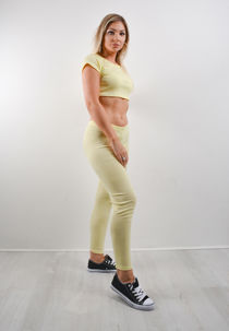 Lime Ribbed Crop Top And Leggings Co-ord Set