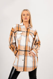 Brown Longline Checked Shacket