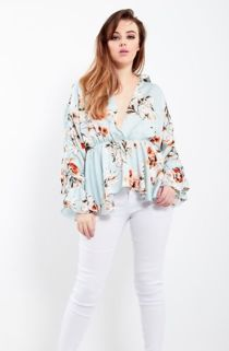 Black Collar Wrap Over Floral Top