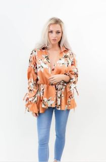 Rust Collar Wrap Over Floral Top
