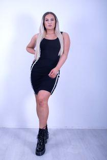 Black Side Stripe Bodycon Midi Dress