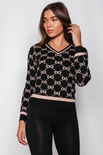 White V-Neck Printed Jumper