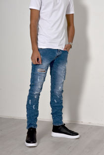 Mid Denim Knee Ripped Skinny Jeans