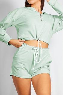 Mint Half Zip Crop Hoody and Short Set