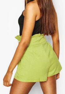 Mint PU High Waist Paper Bag Shorts