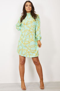 Mint Victorian Collar Printed Dress
