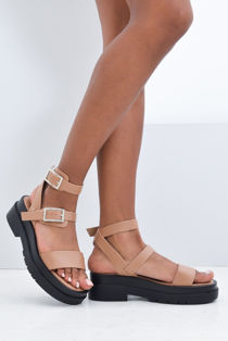 Mocha Double Buckle Chunky Platform Sandals
