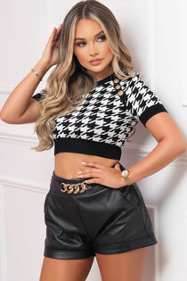 Monochrome Knitted Dogtooth Crop Top