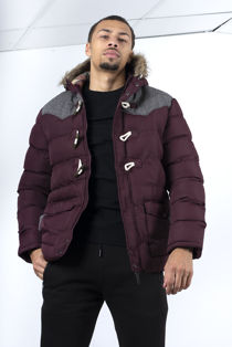 Burgundy Toggle Button Fur Hood Puffer Jacket