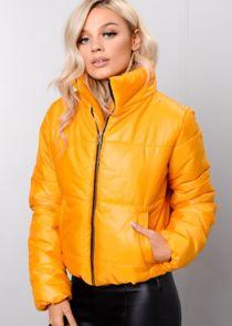 Mustard Cropped High Neck Puffer Jacket