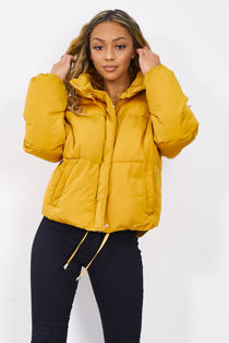 Mustard Funnel Padded Puffer Jacket