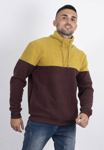 Mustard Two Tone Funnel Neck Fleece Sweatshirt