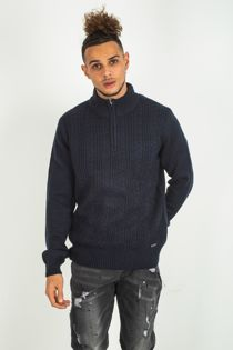 Mens Navy Cable Knit Half Zip Jumper