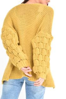 Mustard Bubble Sleeve Cardigan