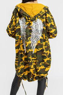 Mustard Camo Sequin Angel Wing  Hooded Cardigan