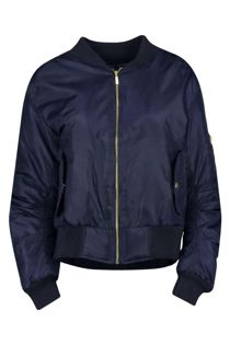 Navy MA1 Bomber Jacket Zip Up Biker Jacket