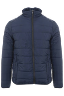 Navy Funnel Neck Quilted Bomber Jacket