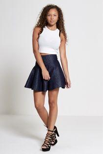 Navy High Waisted Glitter Skater Skirt
