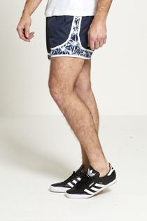 Navy Palm Tree Print Swim Shorts