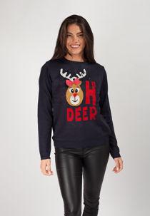 Navy Reindeer Light Up Christmas Jumper