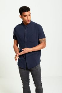 Navy Short Sleeve Round Hem Cotton Shirt