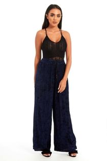 Navy Velvet Crush Pleated Trouser