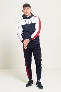 Navy White And Red Zip Through Hooded Tracksuit