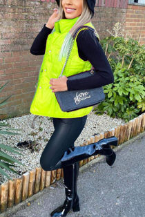 Neon Lime Pocket Front Puffer Gilet